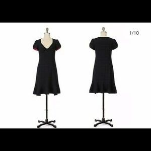 Anthropologie Black Windowpane Dress